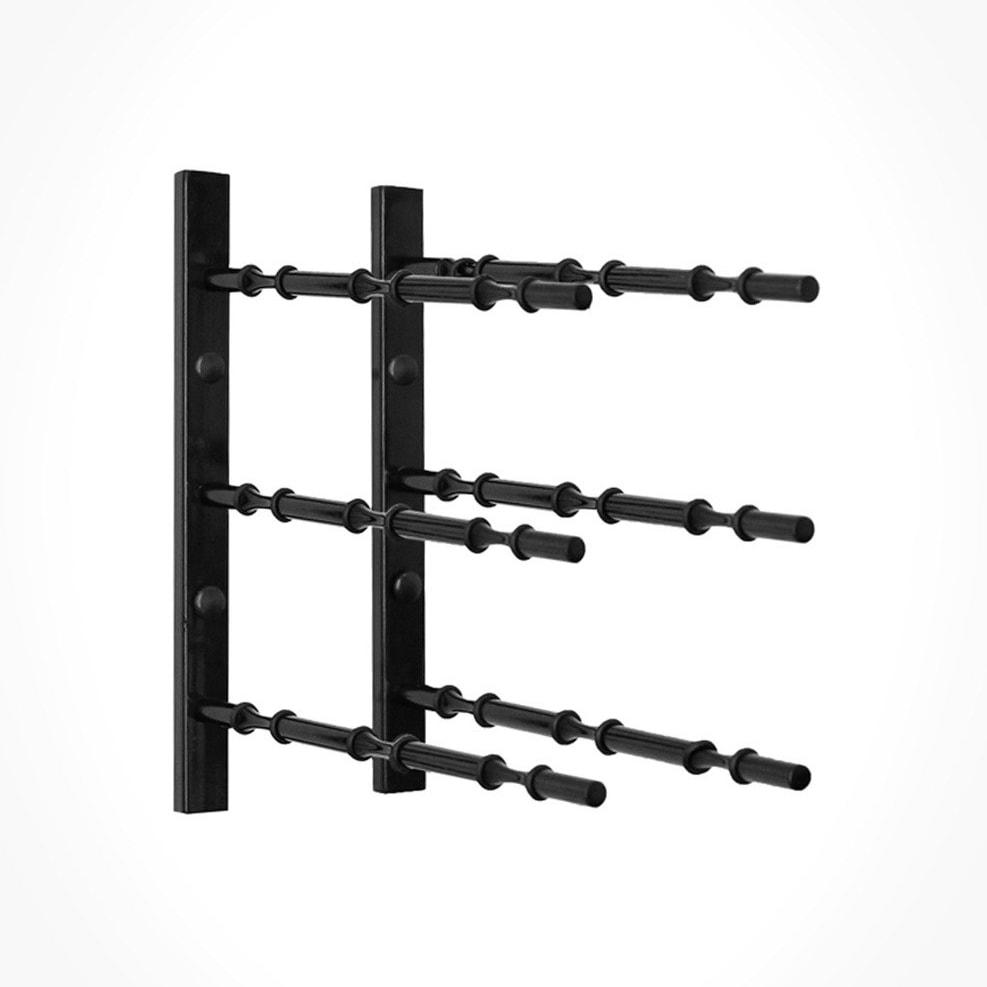 1 ft Wall Rails Metal Wine Rack 3 Bottle (Black)