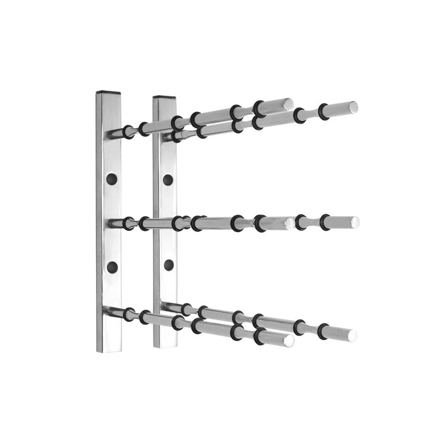 1 ft Wall Rails Metal Wine Rack 3 Bottle (Chrome)