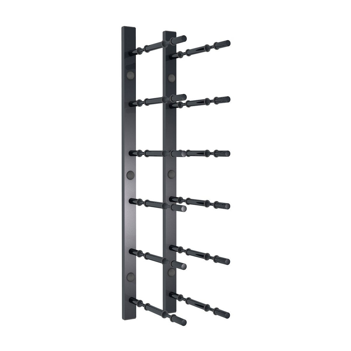 2 ft Wall Rails Metal Wine Rack 2 Bottle (Black)